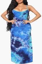 Blue Fashion Sexy U Neck Sleeveless Off The Shoulder Print Printed Dress Plus Size