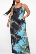 Green Fashion Sexy U Neck Sleeveless Off The Shoulder Print Printed Dress Plus Size