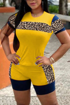 Yellow Polyester Casual Leopard Patchwork Straight Short Sleeve Two Pieces