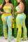Yellow Sexy Spaghetti Strap Sleeveless Spaghetti Strap Print Tie Dye Plus Size Set