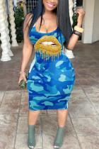 Blue Sexy Off The Shoulder Sleeveless U Neck Vest Dress Knee Length Lips Printed Camouflage Print Dresses