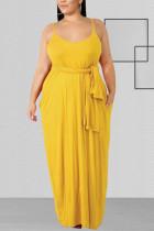 Yellow Fashion Casual U Neck Sleeveless Spaghetti Strap Solid Sling Dress Plus Size