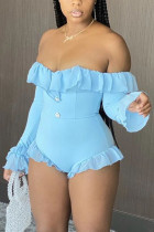 Blue Fashion Sexy Bateau Neck Long Sleeve Off The Shoulder Skinny Solid Romper