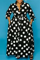 Black OL Turndown Collar A-Line Floor-Length Print Polka Dot Dresses