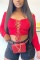 Red Sexy Bateau Neck Long Sleeve Regular Sleeve Short Solid Tops