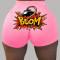 Pink Fashion Casual Print Skinny Shorts