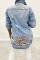 Deep Blue Fashion Casual Turndown Collar Long Sleeve Regular Sleeve Patchwork Leopard Coats