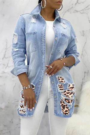 Light Blue Fashion Casual Turndown Collar Long Sleeve Regular Sleeve Patchwork Leopard Coats