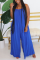 Blue Fashion Casual Spaghetti Strap Sleeveless Spaghetti Strap Loose Solid Jumpsuits