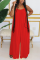 Red Fashion Casual Spaghetti Strap Sleeveless Spaghetti Strap Loose Solid Jumpsuits