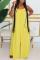Yellow Fashion Casual Spaghetti Strap Sleeveless Spaghetti Strap Loose Solid Jumpsuits