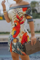 Apricot Fashion Sexy Off The Shoulder Sleeveless Bateau Neck Pencil Skirt Knee Length Print Dresses