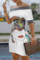 White Fashion Sexy Off The Shoulder Sleeveless Bateau Neck Pencil Skirt Knee Length Print Dresses