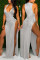 Light Gray Polyester Patchwork Solid Asymmetrical Fashion Sexy adult Ma'am Swimwears Cover Up