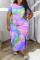 Green Fashion Sexy O Neck Short Sleeve Regular Sleeve Print Printed Dress Plus Size