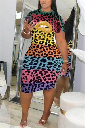Gold Sexy Short Sleeves O neck cake dress Knee-Length Leopard Dresses