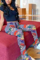 Fashion Casual Printed Light Purple Sports Trousers