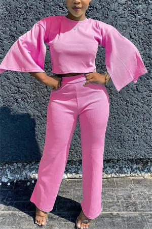 Pink Fashion Half Sleeve O Neck Regular Sleeve Regular Solid Two Pieces