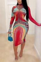Red Milk. Fashion adult Ma'am Street Cap Sleeve Long Sleeves O neck Step Skirt Knee-Length Print Dresses