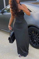 Black Milk. Fashion Sexy adult Ma'am Tank Sleeveless Square Step Skirt Floor-Length Solid backless Dresses