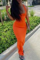 Orange Milk. Fashion Sexy adult Ma'am Tank Sleeveless Square Step Skirt Floor-Length Solid backless Dresses