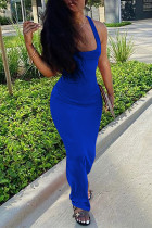 Blue Milk. Fashion Sexy adult Ma'am Tank Sleeveless Square Step Skirt Floor-Length Solid backless Dresses