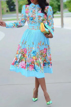 Light Blue Fashion Sexy Regular Sleeve Long Sleeve Turndown Collar Pleated Knee Length Print Dresses