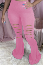 Pink Fashion Casual Boot Cut Solid Trousers