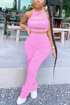 Pink Fashion Sexy Street Sleeveless Halter Regular Letter Two Pieces