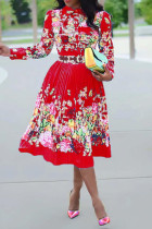 Red Fashion Sexy Regular Sleeve Long Sleeve Turndown Collar Pleated Knee Length Print Dresses