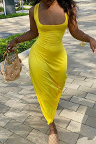 Yellow Milk. Fashion Sexy adult Ma'am Tank Sleeveless Square Step Skirt Floor-Length Solid backless Dresses