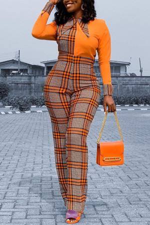 Orange Yellow Fashion Sexy Turndown Collar Plaid Patchwork Jumpsuits