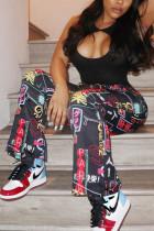 Multi Fashion Casual Street Sportswear Regular Mixed Printing Letter Bottoms
