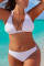 White Fashion Sexy Halter Sleeveless Off The Shoulder Solid Plus Size Swimsuit