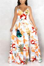 Rice White Fashion Sexy Off The Shoulder Sleeveless V Neck Sling Dress Print DressesFD75938509