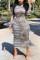 Striped Fashion Sexy Regular Sleeve Long Sleeve Turtleneck Printed Dress Mid Calf Striped Print Dresses