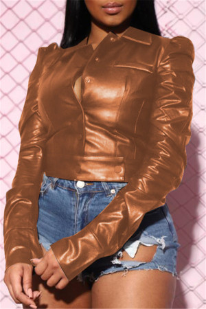 Brown Fashion Turndown Collar Long Sleeve Regular Sleeve Short Solid Tops