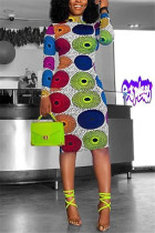 Multi-color Polyester Sexy Europe and America Long Sleeves O neck Step Skirt Knee-Length Print Dresses