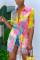 Colorful Fashion Casual Turndown Collar Long Sleeve Regular Sleeve Long Print Tie Dye Tops