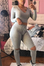 Gray Fashion Sportswear Long Sleeve O Neck Regular Sleeve Short Solid Two Pieces