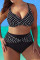 Black Fashion Sexy Spaghetti Strap Sleeveless Off The Shoulder Print Plus Size Swimsuit