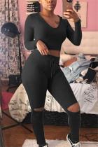 Black Fashion Sportswear Long Sleeve O Neck Regular Sleeve Short Solid Two Pieces