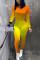 Orange Fashion Casual O Neck Long Sleeve Regular Sleeve Skinny Gradual Change Print Jumpsuits