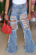 Light Blue Fashion Sexy Boot Cut Solid Jeans (Without Waist Chain)
