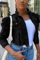 Black Fashion Street Turndown Collar Long Sleeve Hubble-Bubble Sleeve Solid Coats