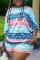 Blue Fashion Casual O Neck Three Quarter Regular Sleeve Print Plus Size Set