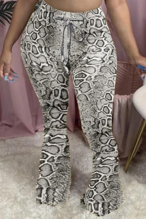 Gray Fashion Casual Regular Print Trousers
