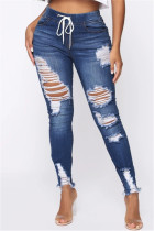 Deep Blue Fashion Casual Regular Solid Jeans