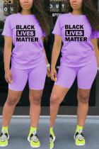 Fashion Casual Printed T-shirt Purple Shorts Set