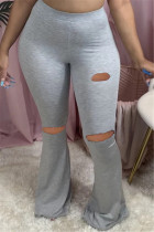 Gray Fashion Casual Boot Cut Solid Trousers